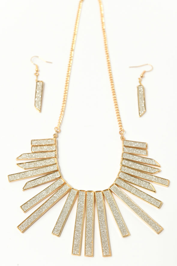 Glitter Cleopatra Collar and Earrings Set