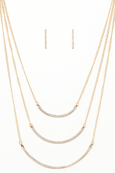 Glitter Layered Curve Necklace and Earring Set