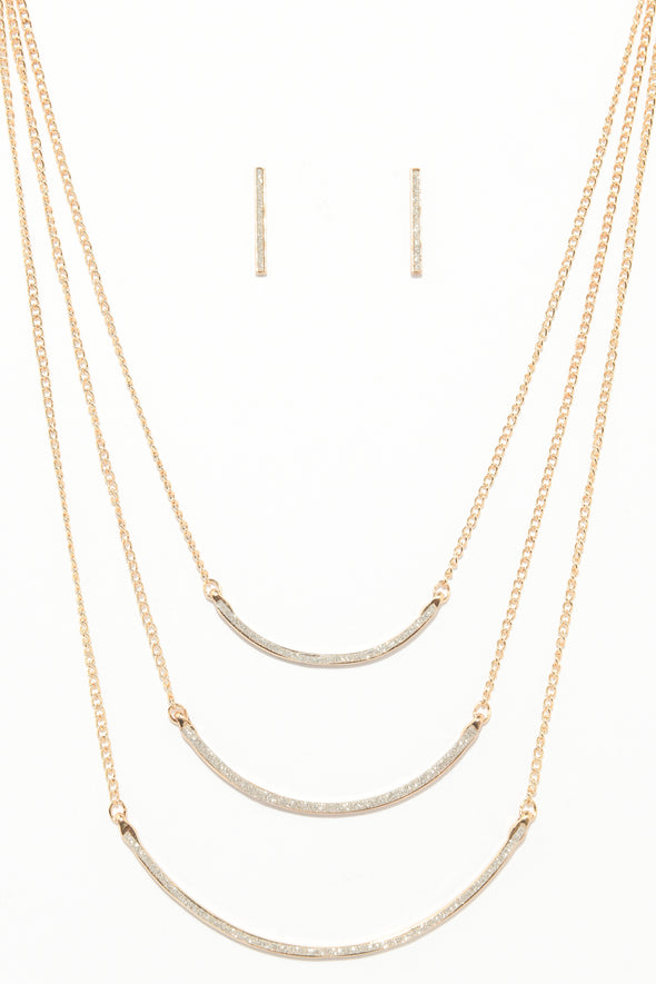 Glitter Layered Curve Necklace and Earrings Set