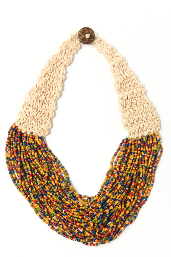 Crochet Back Multicolor Seedbead Statement Necklace