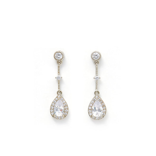 Teardrop Drop Earrings w/ Cubic Zirconia Stones - Silver