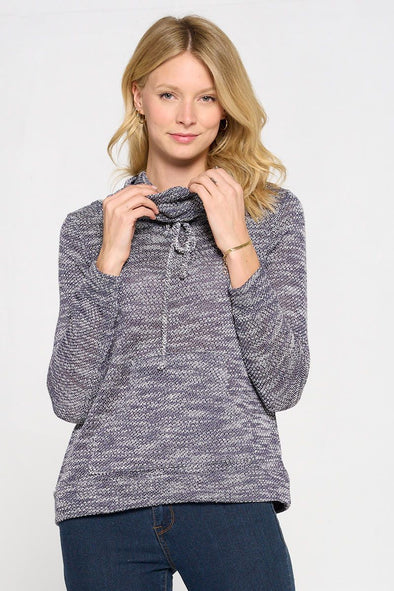 Long Sleeve French Terry Cowl Neck Top