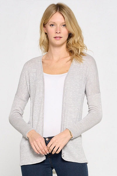 Knit Slub Cardigan With Lace Trim