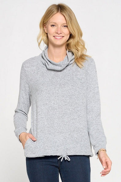 Long Sleeve Cowl Neck With Tie Bottom