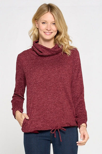Long Sleeve Hacci Knit Cowl Neck Top With Tie Bottom