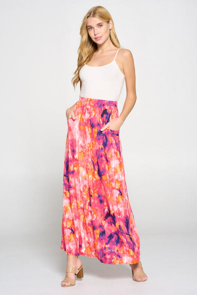 Long Printed Knit Skirt
