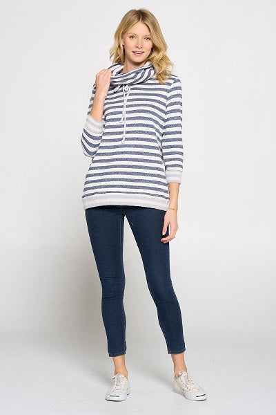 Long Sleeve French Terry Stripe Cowl Neck Top