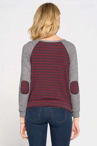 Long Sleeve Solid And Stripe Knit With Patch Sleeves