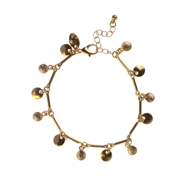 "7.5"" Casted Drops Glass Stone Charm Bracelet - Gold - Charming Charlie"