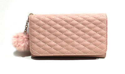 Quilted Pom Fold Over Wallet