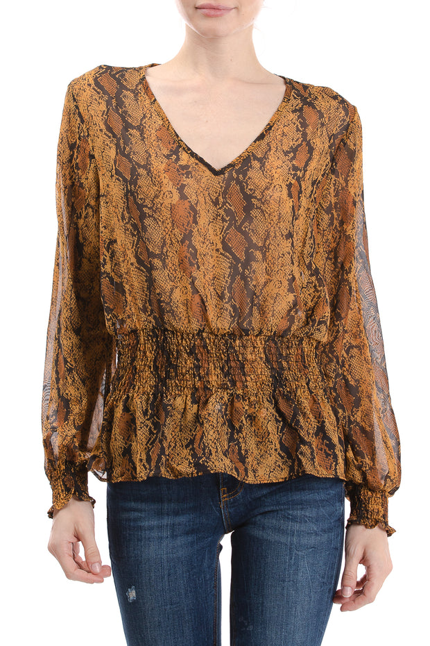 Long Sleeve V-Neck Smocked Waist Top, Brown - Charming Charlie