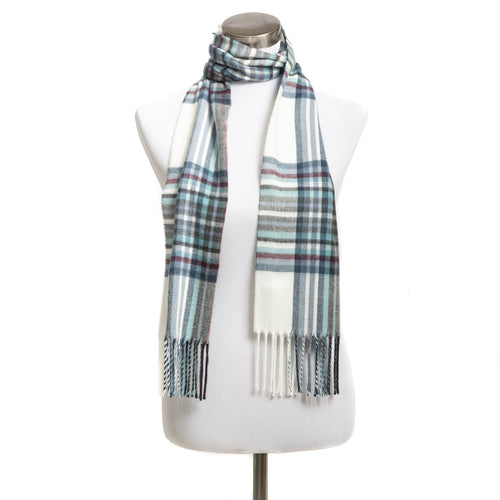 Winter Muffler Warm Scarf - Mega Plaid Design - Ivory
