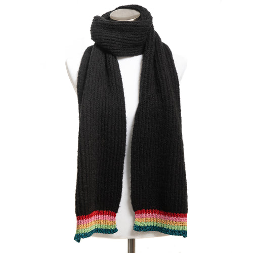 Winter Muffler Warm Scarf - Rainbow Shine Edge - Black