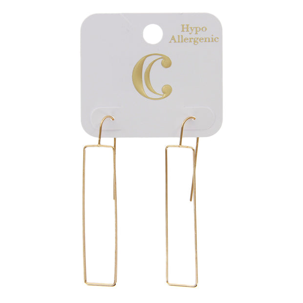 "2.5"" Open Wire Rectangle Drop Dangle Earrings - Gold - Charming Charlie"