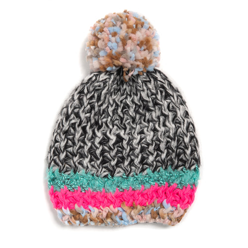 Winter Beanie Hat - Marled Mixed Stripe - Bright/Multi