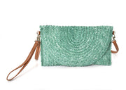 Fold Over Straw Clutch w/Crossbody Strap