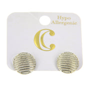 Round Button Stud Earrings - Stainless Post - Silver - Charming Charlie