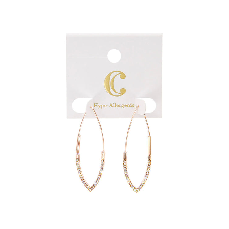 "1.75"" Rhinestone Elongated Hoop Earrings - Charming Charlie"