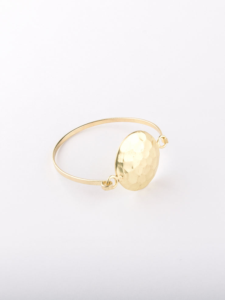 Hammered Disc Bracelet, Gold
