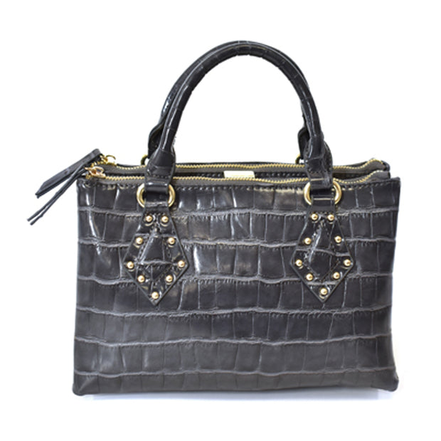 Croco Satchel Bag w/ Studs