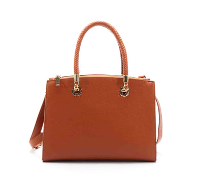 Smooth Triple Compartment Box Satchel
