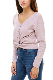Long Sleeve Knot Front Blouse - Charming Charlie