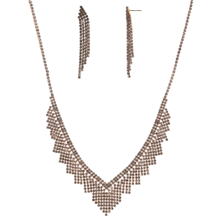 16-Inch Fringe Necklace and Earring Set - Rose Gold - Charming Charlie