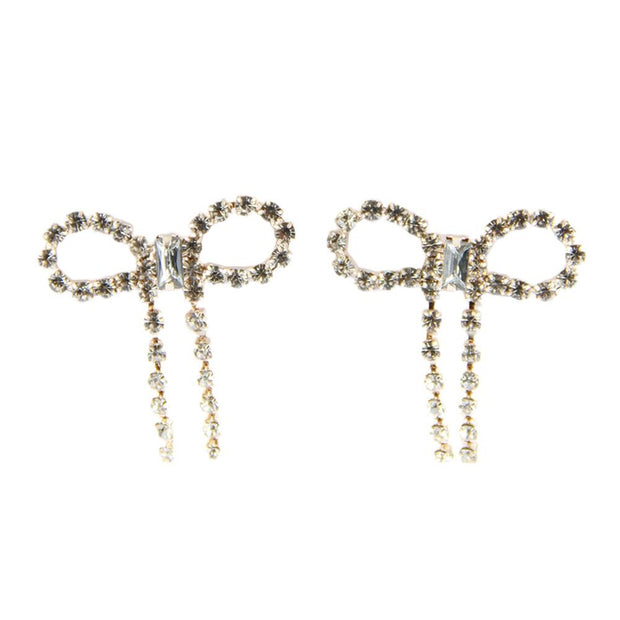 "1"" Glass Rhinestone Metal Bow Post Earrings - Rose Gold"