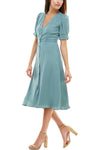 V Neck Vintage Inspired Button Front Dress - Charming Charlie