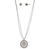 30-Inch Floral Circle Necklace and Earring Set - Silver - Charming Charlie