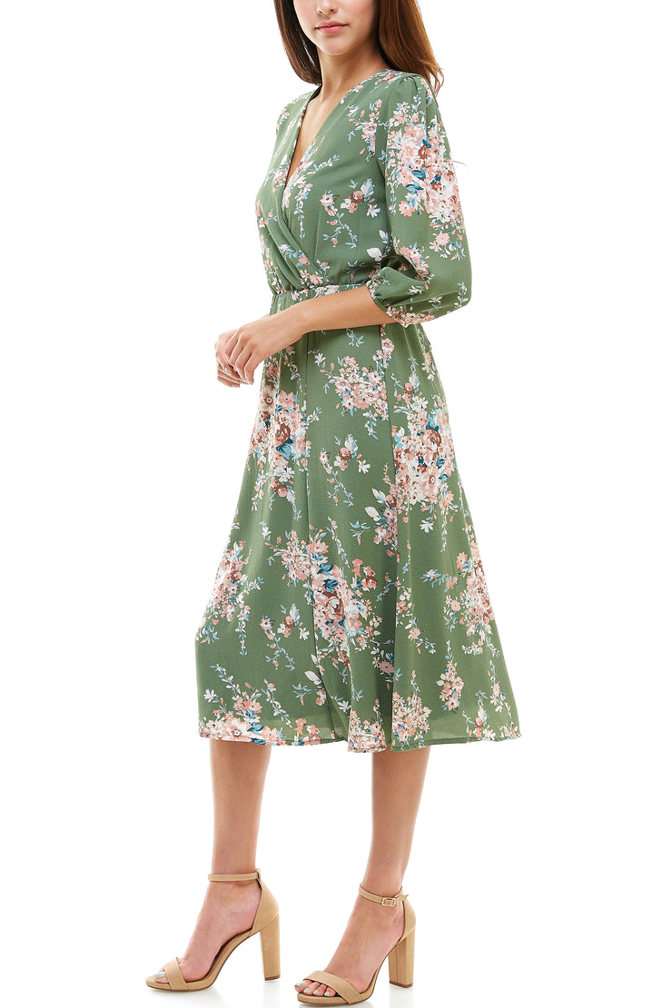 3/4 Sleeve Floral Wrap Dress - Charming Charlie