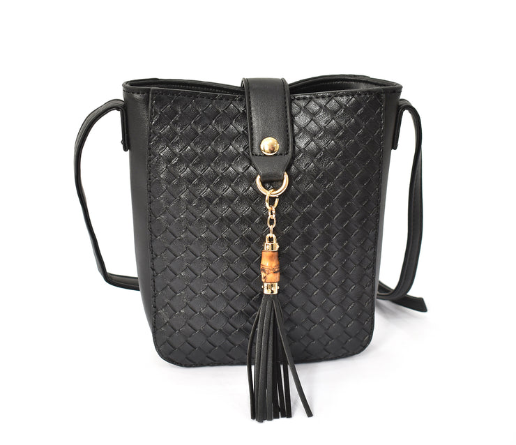 Tall Quilted Small Bamboo Tassel Crossbody