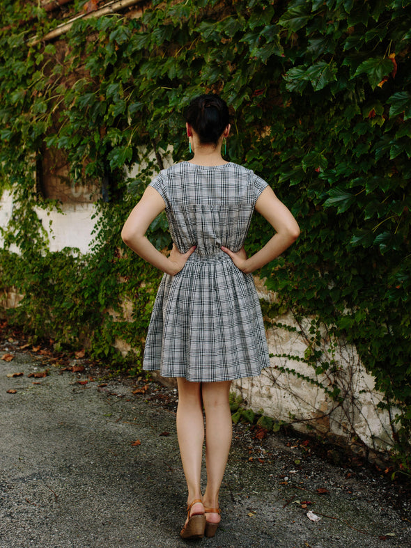 Smock Waist Dress in Black Plaid