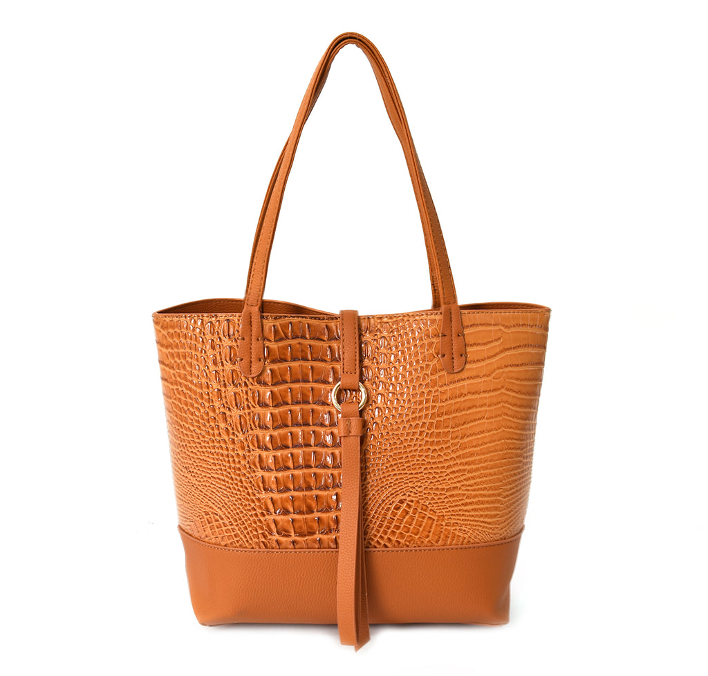 Caiman Embossed Bag in Bag Tote
