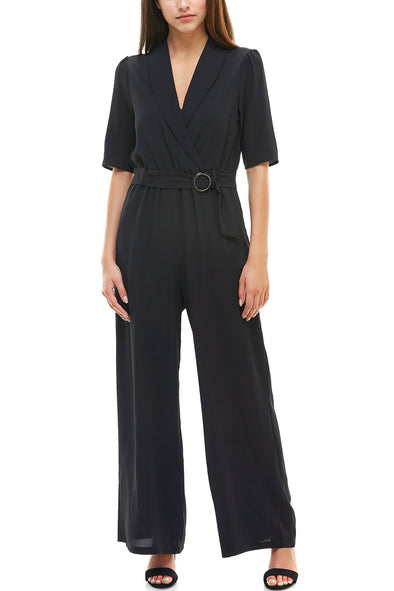 Black Tortoise Shell Buckle Long Jumpsuit - Charming Charlie