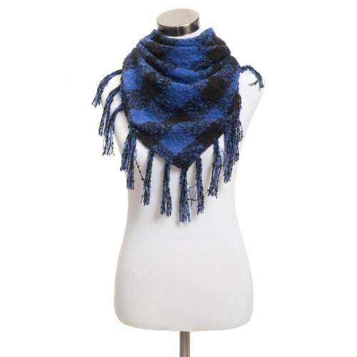 Winter Boucle Triangle Scarf - Buffalo Plaid - Blue