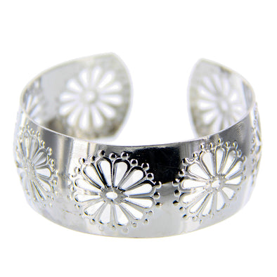 Flower Cutout Large Cuff Bracelet - Adjustable - Silver - Charming Charlie