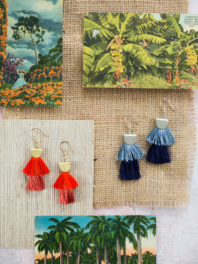 Cozumel Tassel Earrings, Red