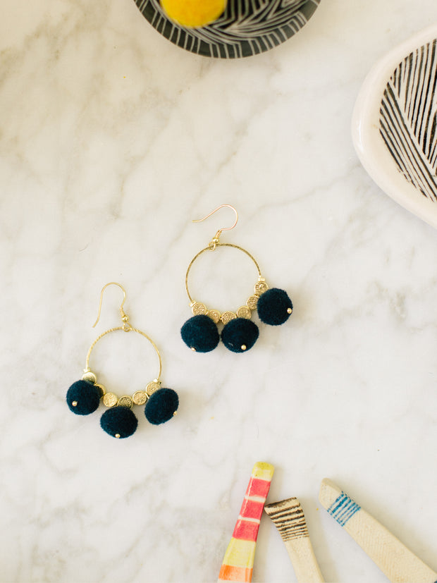 Dangling Pom Earrings, Navy