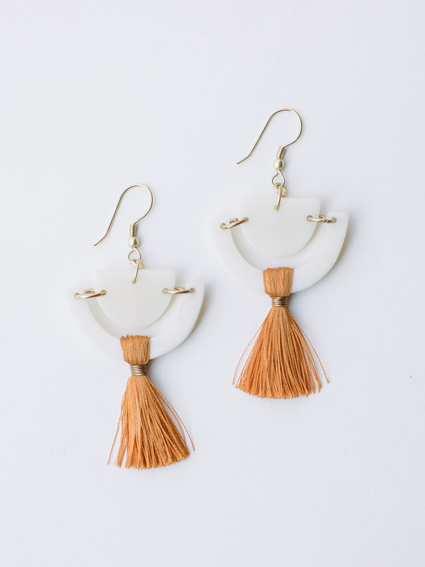 Doric Tassel Earrings, Orange