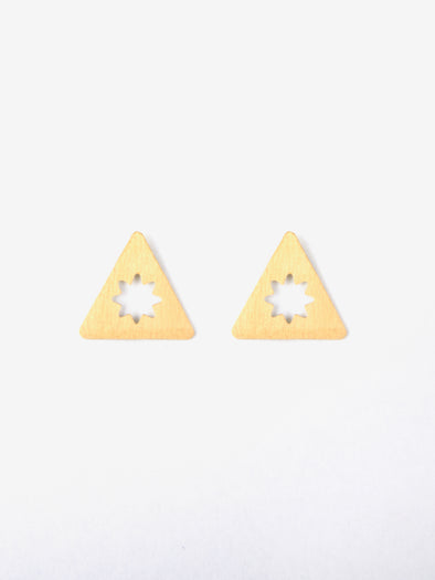 Etched Star Studs, Gold