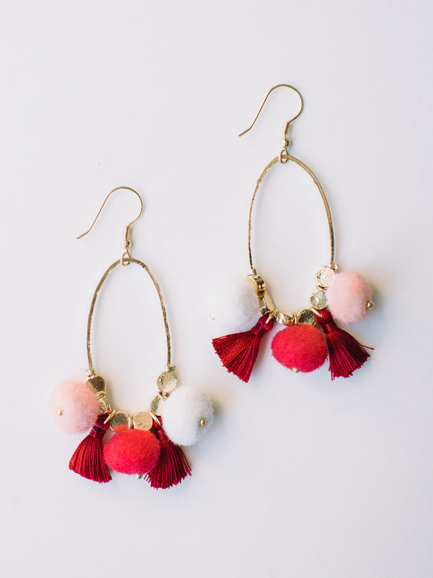 Fiesta Pom Earrings, Pink