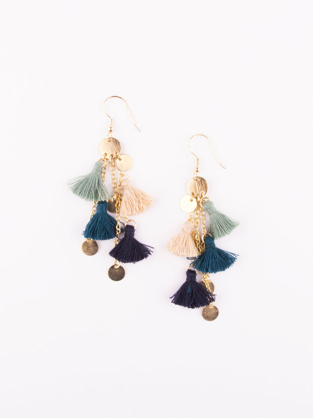 Fringe Frenzy Earrings, Blue