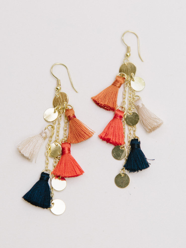 Fringe Frenzy Earrings, Orange