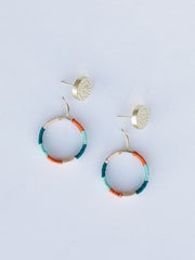 Vibrant Threads studs aqua orange