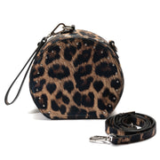 Animal Print Crossbody Handbag w/ Wrist Strap - Leopard