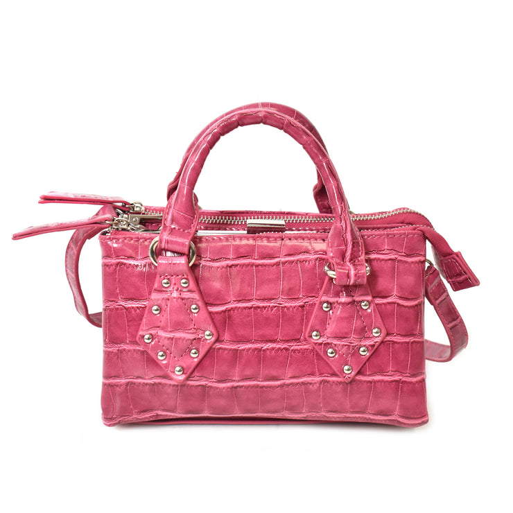 Mini Croco Satchel Bag w/ Stud
