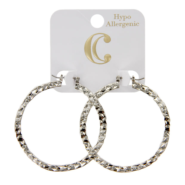 "1.75"" Hammered Wavy Textured Hoop Earrings"