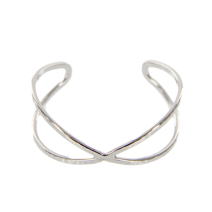Hammered Metal Criss Cross Open Cuff Bracelet