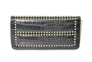 Studded Croco Zip Around Wallet